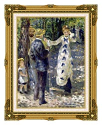 Pierre Auguste Renoir The Swing canvas with museum ornate gold frame