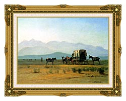 Albert Bierstadt Surveyors Wagon In The Rockies canvas with museum ornate gold frame