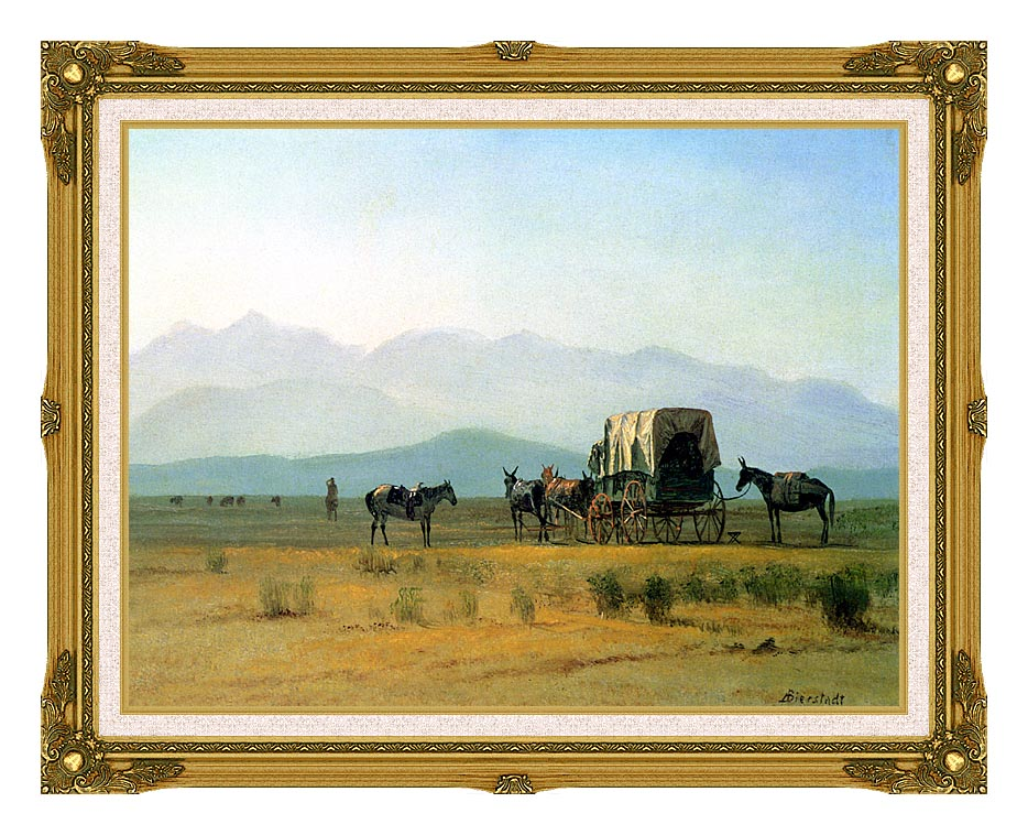 Albert Bierstadt Surveyor's Wagon in the Rockies with Museum Ornate Frame w/Liner