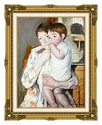 Mary Cassatt Baby On His Mothers Arm canvas with museum ornate gold frame