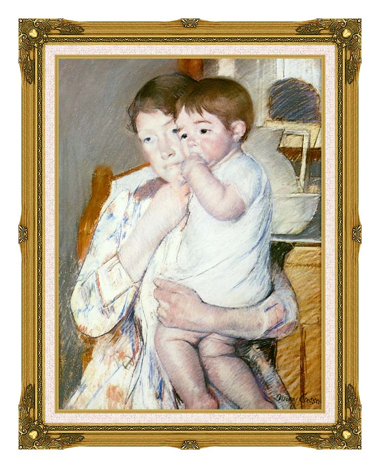 Mary Cassatt Baby on His Mother's Arm with Museum Ornate Frame w/Liner