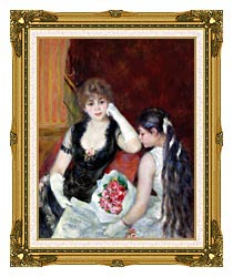 Pierre Auguste Renoir At The Concert canvas with museum ornate gold frame