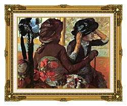 Edgar Degas At The Milliners canvas with museum ornate gold frame