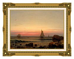 Martin Johnson Heade Sailing Off The Coast Detail canvas with museum ornate gold frame