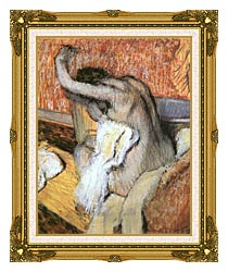 Edgar Degas After The Bath Woman Drying Herself canvas with museum ornate gold frame