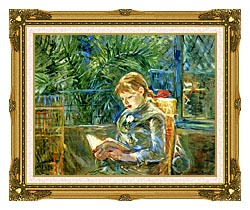 Berthe Morisot Little Girl Reading canvas with museum ornate gold frame