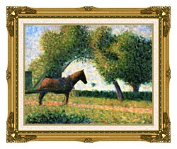 Georges Seurat Horse canvas with museum ornate gold frame
