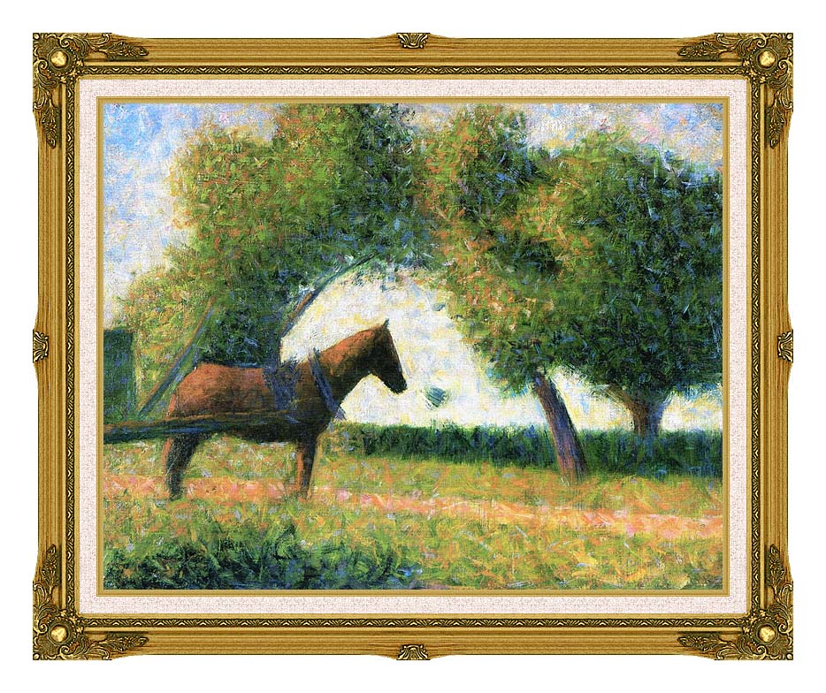 Georges Seurat Horse with Museum Ornate Frame w/Liner