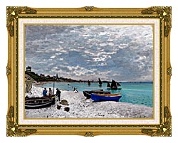 Claude Monet Beach At Sainte Adresse canvas with museum ornate gold frame