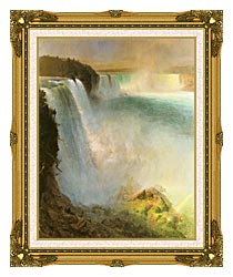 Frederic Edwin Church Niagara Falls From The American Side canvas with museum ornate gold frame