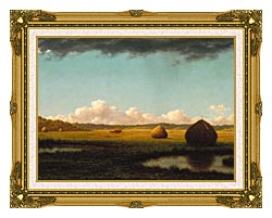 Martin Johnson Heade Summer Showers Detail canvas with museum ornate gold frame