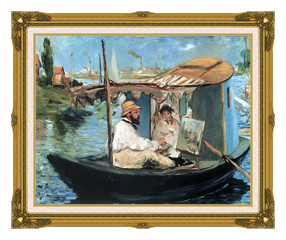 Edouard Manet Claude Monet in his Floating Studio with Museum Ornate Frame w/Liner