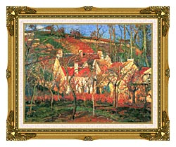 Camille Pissarro The Red Roofs canvas with museum ornate gold frame