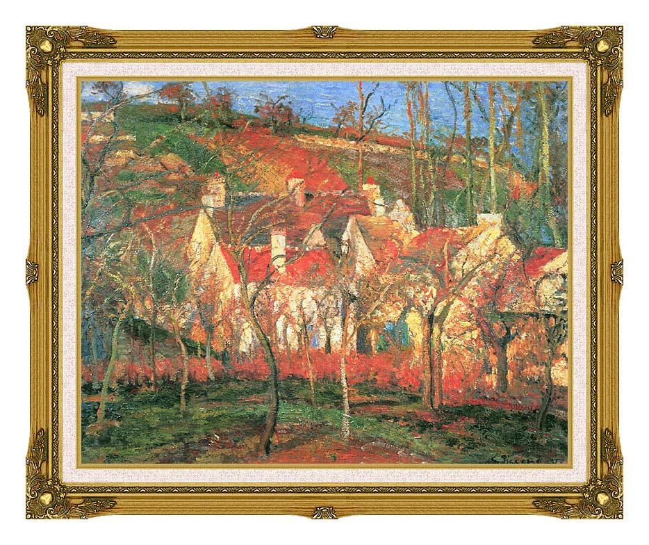 Camille Pissarro The Red Roofs with Museum Ornate Frame w/Liner