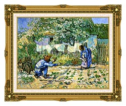 Vincent Van Gogh First Steps canvas with museum ornate gold frame