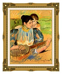 Mary Cassatt The Banjo Lesson canvas with museum ornate gold frame