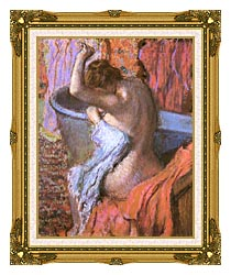 Edgar Degas Seated Bather Drying Herself canvas with museum ornate gold frame