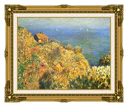 Claude Monet The Fishermans House Varengeville canvas with museum ornate gold frame