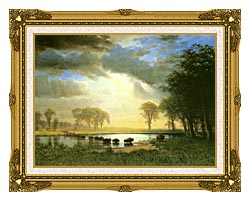 Albert Bierstadt The Buffalo Trail canvas with museum ornate gold frame