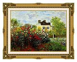 Claude Monet Monets Garden At Argenteuil canvas with museum ornate gold frame
