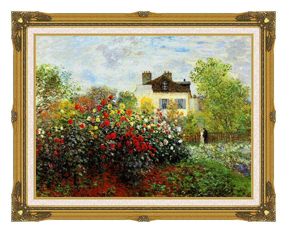 Claude Monet Monet's Garden at Argenteuil with Museum Ornate Frame w/Liner