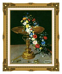 Jan Brueghel The Elder Gold Cup With Flower Wreath And Jewel Box Portrait Detail canvas with museum ornate gold frame
