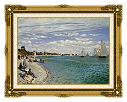 Claude Monet Regatta At Sainte Adresse canvas with museum ornate gold frame