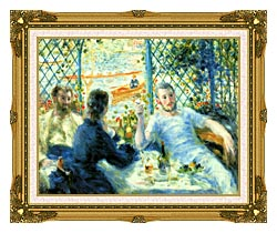 Pierre Auguste Renoir The Canoeists Luncheon canvas with museum ornate gold frame
