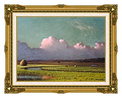 Martin Johnson Heade Sunlight And Shadow The Newbury Marshes Detail canvas with museum ornate gold frame