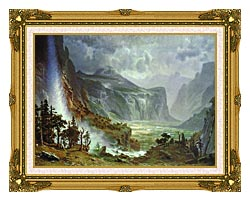 Albert Bierstadt The Domes Of The Yosemite canvas with museum ornate gold frame