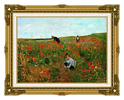 Mary Cassatt Poppies In A Field canvas with museum ornate gold frame