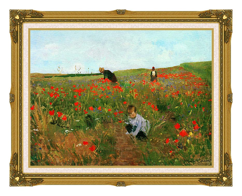 Mary Cassatt Poppies in a Field with Museum Ornate Frame w/Liner