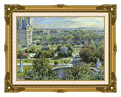 Claude Monet The Tuileries canvas with museum ornate gold frame