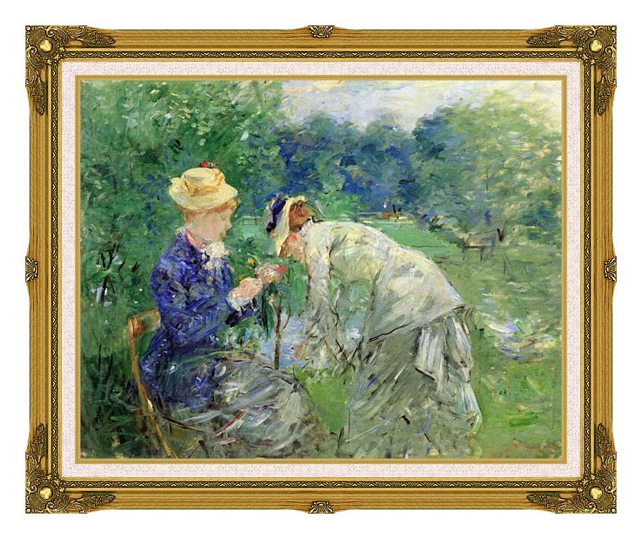 Berthe Morisot In the Garden 1879 with Museum Ornate Frame w/Liner