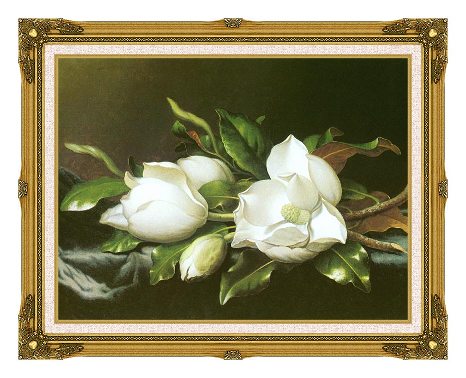 Martin Johnson Heade Magnolias (detail) with Museum Ornate Frame w/Liner