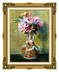 Pierre Auguste Renoir Bouquet In A Vase canvas with museum ornate gold frame