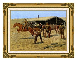 Frederic Remington The Coming And Going Of The Pony Express canvas with museum ornate gold frame
