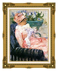Mary Cassatt The Cup Of Tea canvas with museum ornate gold frame