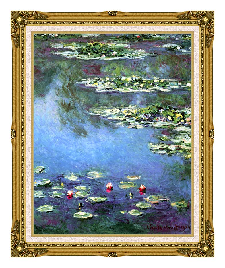 Claude Monet Water Lilies 1906 (portrait detail) with Museum Ornate Frame w/Liner