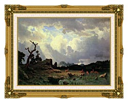 Albert Bierstadt Thunderstorm In The Rocky Mountains canvas with museum ornate gold frame