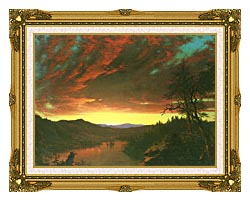 Frederic Edwin Church Twilight In The Wilderness Detail canvas with museum ornate gold frame