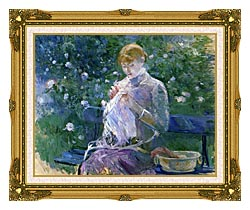 Berthe Morisot Pasie Sewing In The Garden At Bougival canvas with museum ornate gold frame