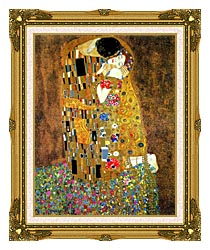 Gustav Klimt The Kiss Detail canvas with museum ornate gold frame