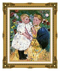 Mary Cassatt In The Garden 1893 canvas with museum ornate gold frame