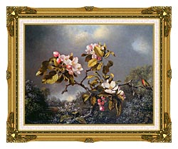 Martin Johnson Heade Apple Blossoms And Hummingbird canvas with museum ornate gold frame