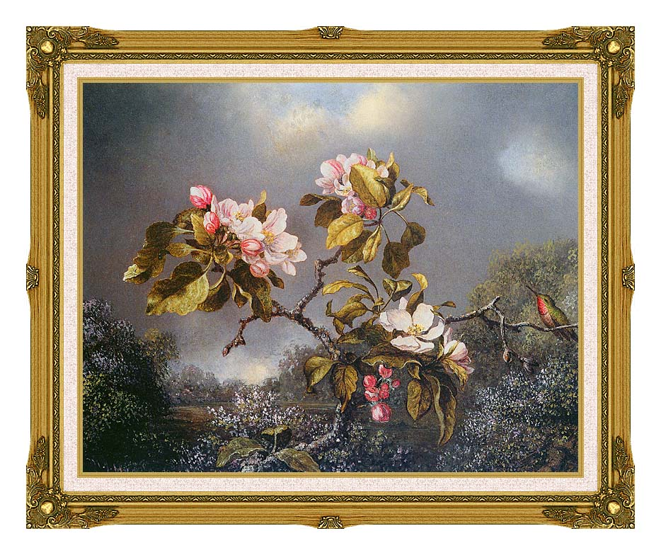 Martin Johnson Heade Apple Blossoms and Hummingbird with Museum Ornate Frame w/Liner