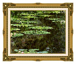 Claude Monet Water Lilies 1904 Detail canvas with museum ornate gold frame