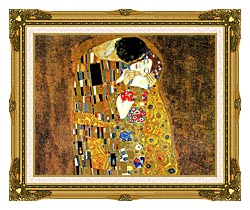 Gustav Klimt The Kiss Landscape Detail canvas with museum ornate gold frame