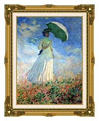 Claude Monet Woman With Umbrella Turned To The Right canvas with museum ornate gold frame