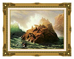 Albert Bierstadt Seal Rock canvas with museum ornate gold frame